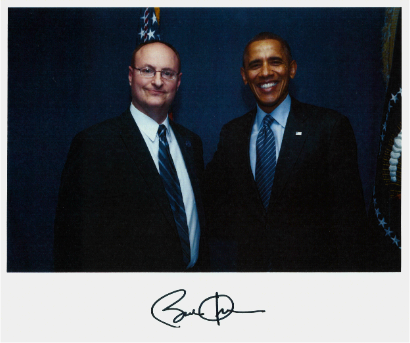 Vic with President Obama - Commissioner Victor Celentino, Chairperson of the Board of Commissioners, Welcomes President Barack Obama to East Lansing, Ingham County on Feb 7, 2014.  The President came to MSU to sign the historic Federal Farm Bill.
